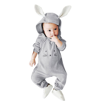 MUQGEW Infant Baby Boy Girl Cartoon 3D Ear Hooded Romper Jumpsuit Clothes roupa de menina Winter clothes for baby Baby Rompers