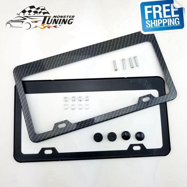 Free Shipping 2pcs Carbon Fiber Aluminum License Plate Frame Tag ...