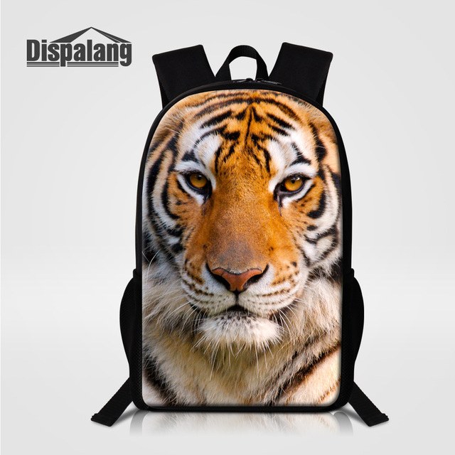 Zoo Animal Tiger Lion Leopard Printed School Bag Backpack For Boys Custom Design Bookbags 16 Inch Large Capacity Mochila Bagpack
