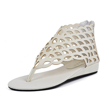Rome Style Flip Flop Fashion Women's Shoes Gladiator Flats Open-toe Thong Sandals Cut-outs Sandals Size Plus 35-40  XWZ1947