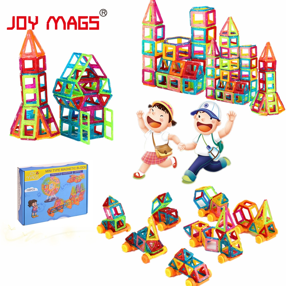 JOY MAGS Mini Magnetic Designer 90/110 / 158Pcs Construction Building Blocks DIY 3D DIY ուսումնական խաղալիքներ նվերների համար