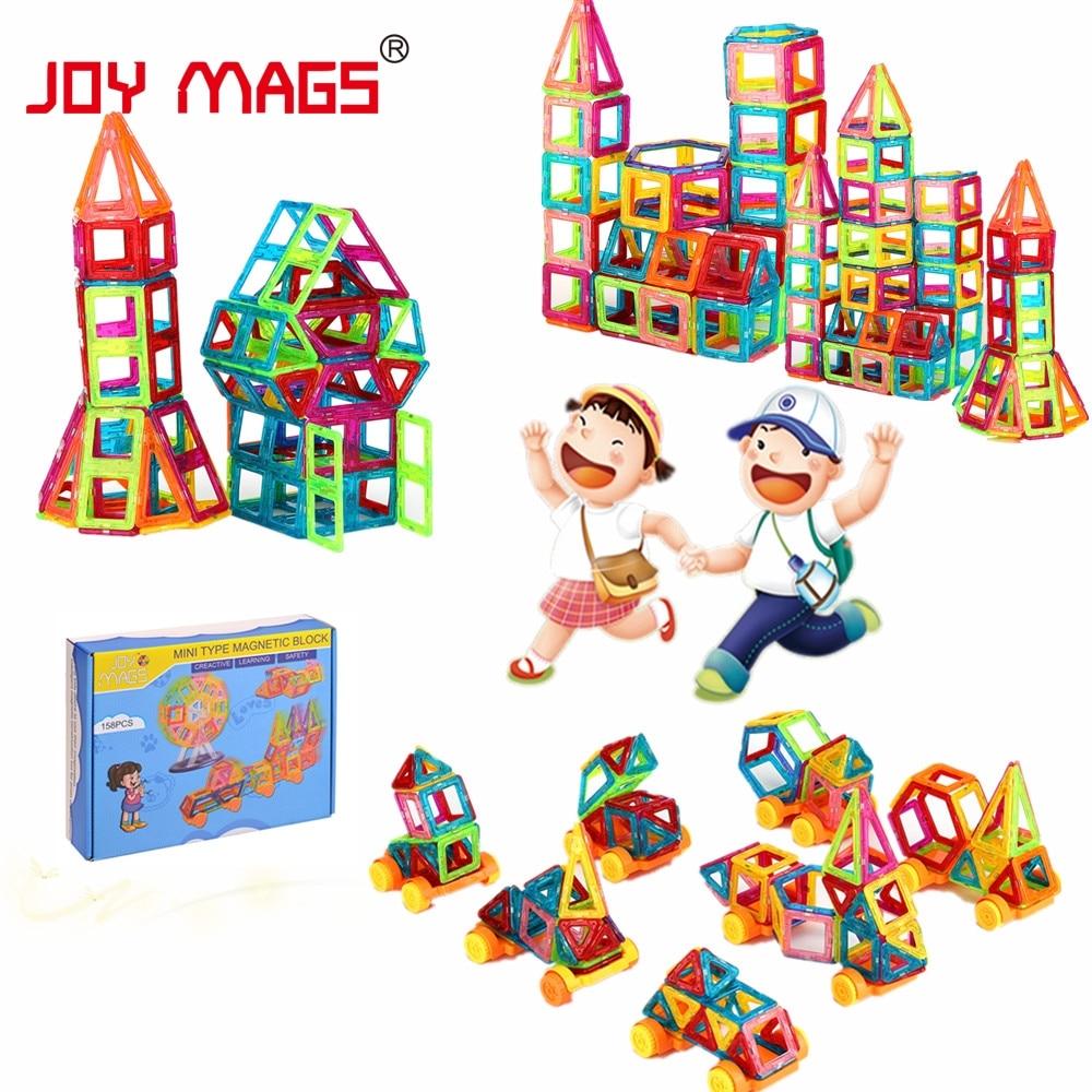 JOY MAGS mini magnetni dizajner 90/110 / 158pcs građevinski blokovi DIY 3D DIY obrazovne igračke za poklon