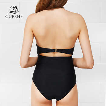 CUPSHE High Quality Cut To It Shell Bikini Women Soild Halter Cut Out One-Piece Swimsuit 2019 Girl Beach Sexy Backless Swimwear