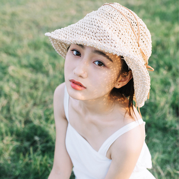 Summer Raffia Handmade crochet soft fold Straw sun hat for women girls 1