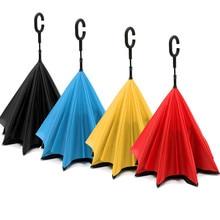 Doppelschicht Reverse Regenschirm Big Doppelschicht Innen Invertiert Kopf Winddicht Regenschirm Selbst Standing