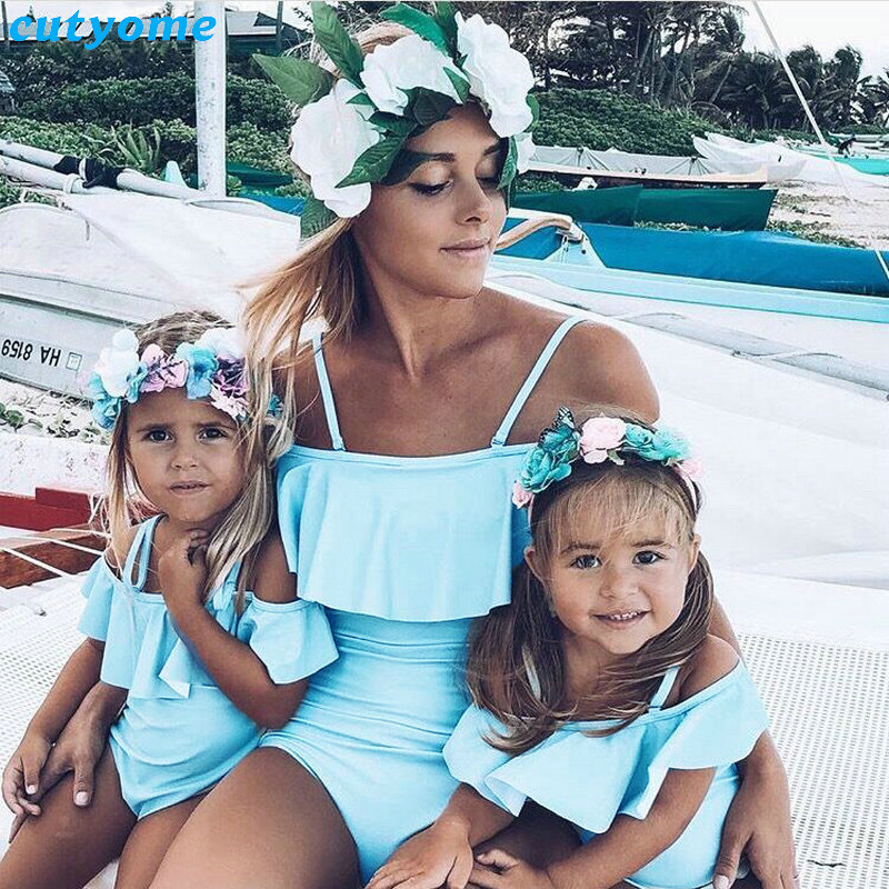 Mother Daughter Swimsuits Family Mommy And Me Swimwear Bikini Matching Clothes Family Look Mom And Daughter Bathing Suit Beach