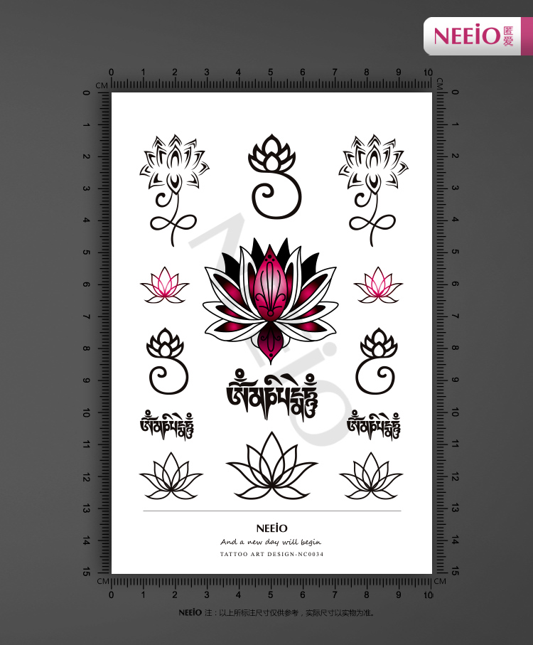New Grain Makeup Tattoo Stickers Small Lotus Totemsanskrit Hand
