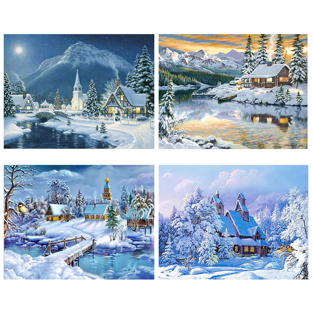 Diamond Painting Winter Landscape DIY Diamond Mosaic Snow,Handmade,Cross Stitch Kits,Diamond Embroidery,Patterns,Rhinestones