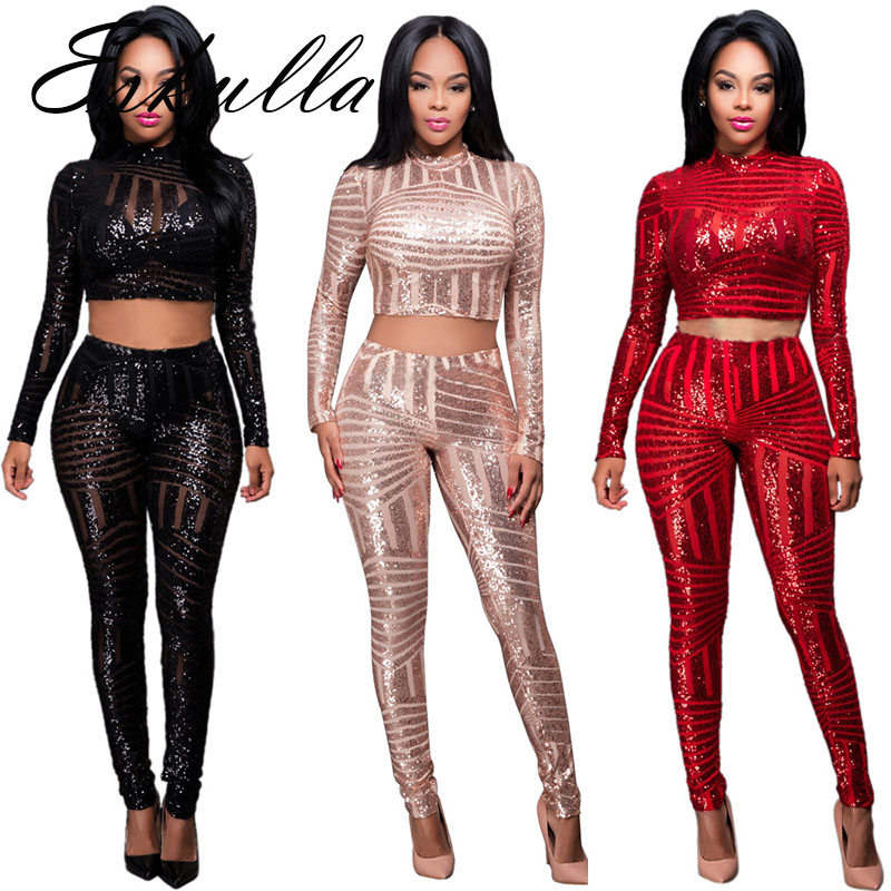 Eskulla Women Solid Shinily Sequins Leotard Two Piece Suits Sutumn Fashion Sexy Back Zipper Vestidos Club Party Suits Red Gold in Women 39 s Sets from Women 39 s Clothing