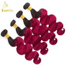 HairUGo font b Hair b font Pre colored 4 Bundles Brazilian Body Wave 1b Bug Color