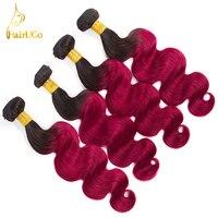 HairUGo pre-color 4 Bundles Brasileño Onda Del Cuerpo Del Pelo 1b # Color 100% Del Pelo Humano No Remy Del Pelo Bug extensión