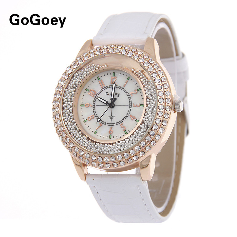 High quality Gogoey brand Rhinestone leather watch women ladies Quicksand beads dress quartz wristwatch Relogio Feminino go007 misscycy lz the 2016 new fashion brand top quality rhinestone men s steel band watch quartz women dress watch relogio feminino