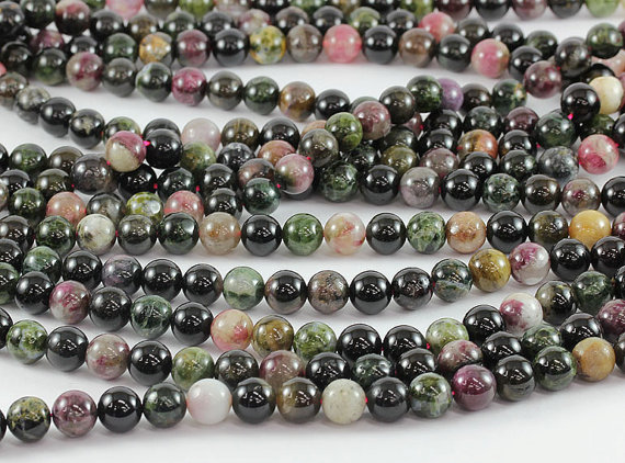 100% Natural Multi Tourmaline Beads 4mm,6mm, 8mm,10mm Smooth Round Beads,Natural Stone Beads For jewelry 1string 15.5""