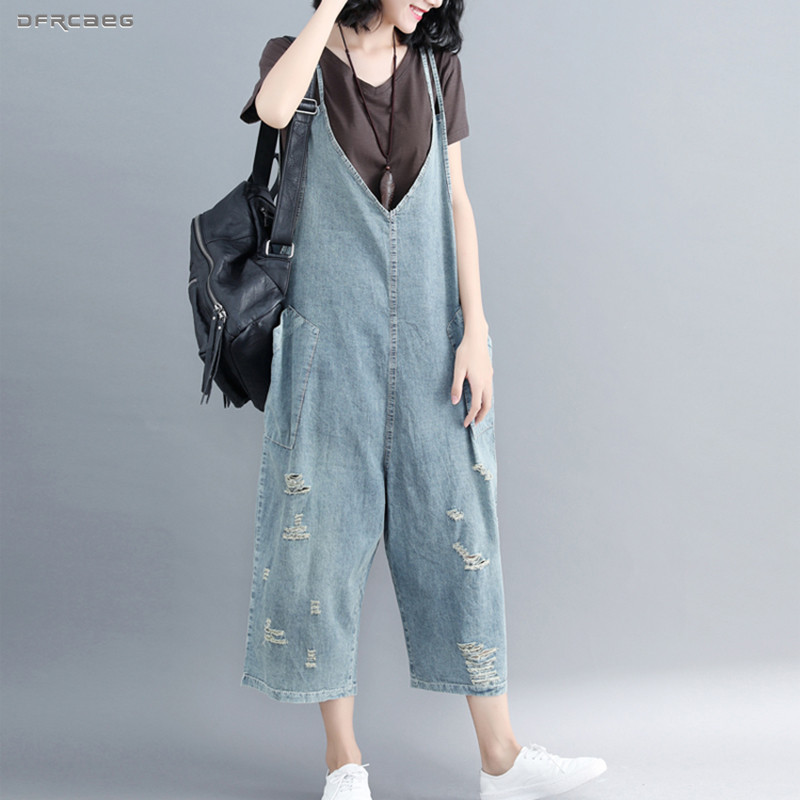 Loose Denim Rompers Womens Jumpsuit With Pockets 2019 Streetwear Vintage Suspender Denim Jumpsuit Pants Ripped Overalls Jeans thumbnail