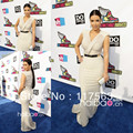 Kim Kardashian sheath ivory v neck floor length long chiffon celebrity dress evening dress CD033