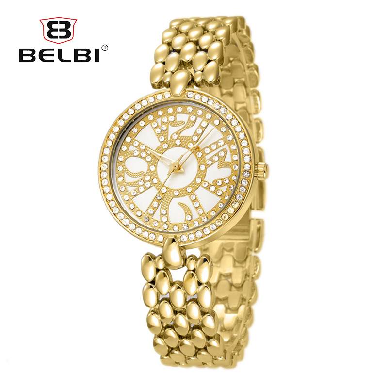 BELBI Brand Luxury Casual Simple Crystal Quartz Wristwatch Dress Bracelet Watch Fashion Women Gold Classic Watches