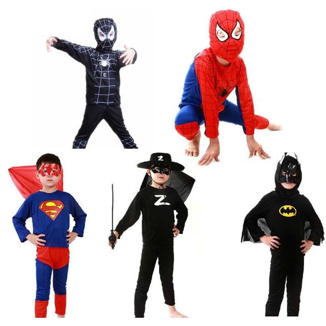 Spiderman batman superman spiderman traje preto vermelho trajes de halloween para crianças capas de super-heróis anime cosplay carnaval Terno