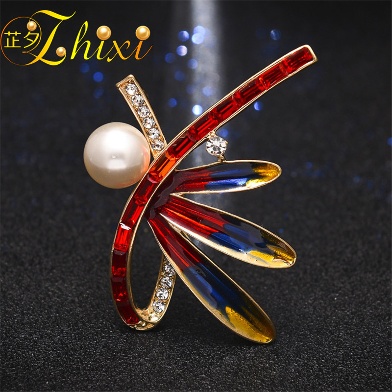 ZHIXI Brooch For Women Fine Jewelry Freshwater Pearl Brooch  Pins White 9-10MM Pearl Jewelry Trendy Birthday Gift Red B25