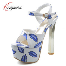 Plus size 33-40!2017 summer sexy Extra 15cm high heels  woman new design party and club shoes Pumps High Quality peep toe shoes