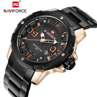 NAVIFORCE Top Mens Luxury Brand Military Watches Men Full Steel Waterproof Quartz Watch Sports Wristwatches Relogio