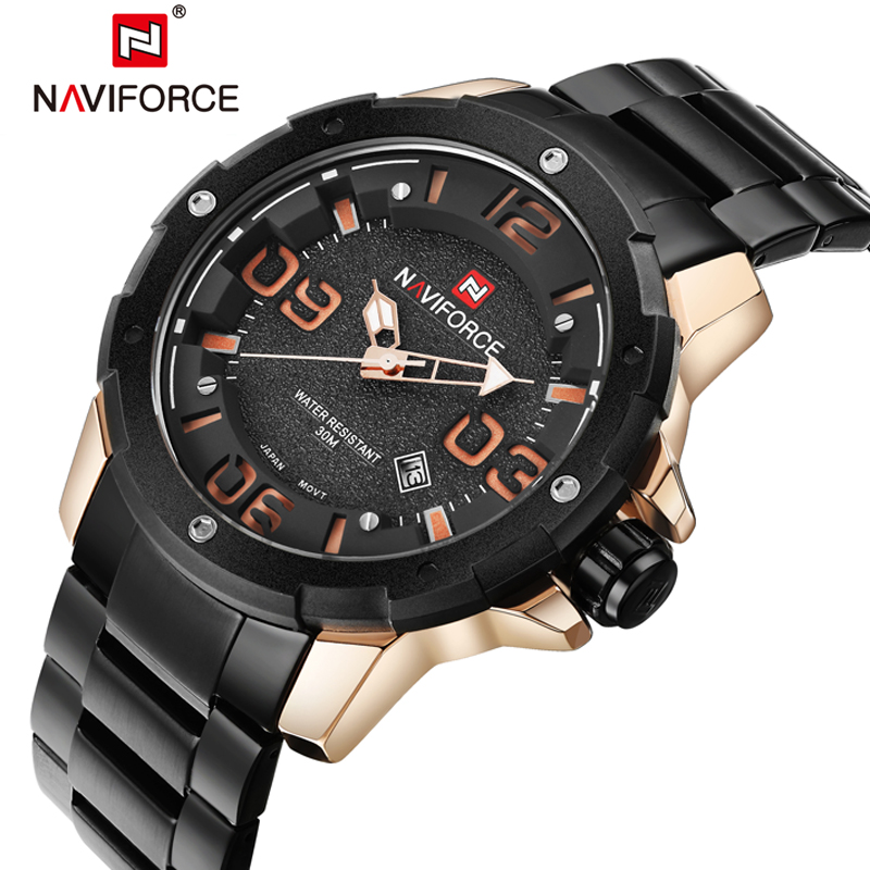 NAVIFORCE Top Mens Luxury Brand Military Watches Men Full steel Waterproof Quartz Watch Sports Wristwatches relogio masculino 2016 biden brand watches men quartz business fashion casual watch full steel date 30m waterproof wristwatches sports military wa