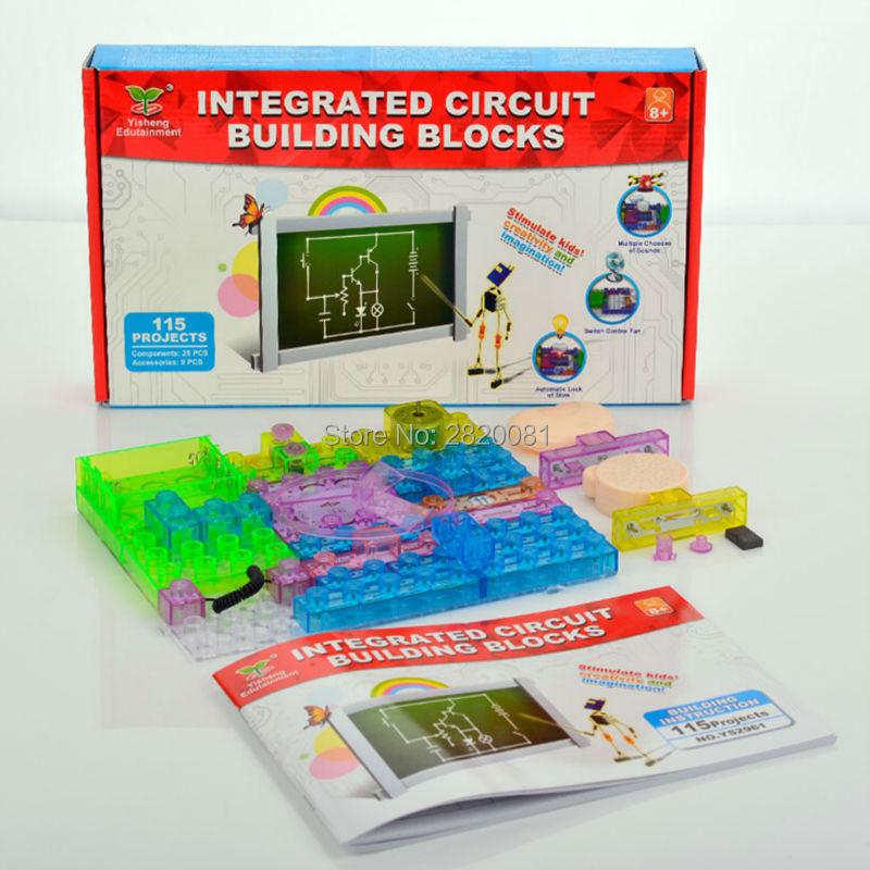 115 projects integrated circuit building blocks electronic blocks,kids creativety&imagination educational smart DIY toys 34pcs