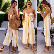 01b1ed64815 Fahsion Summer Women Wide Leg Pant Summer Jumpsuit Sleeveless Ladies Cami  Backless Yellow Striped Loose Bandage Casual