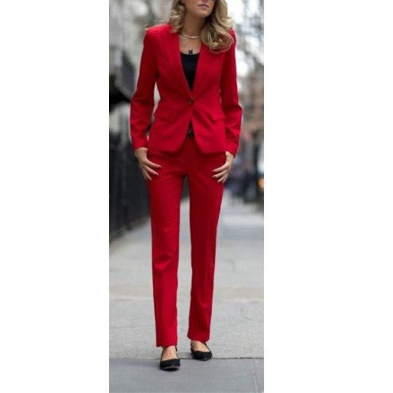 Femmes Travail La Dames À De Mode Picture Custom as Nouveaux Rouge Color Bureau satin Formelle Made Smokings Costumes Color Vêtements D'affaires SCSrwB6qX