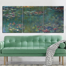 3Panel Print Claude Monet Lotus Impressionist Landscape Painting on Canvas Painting Modular Picture Art Poster for Living Room