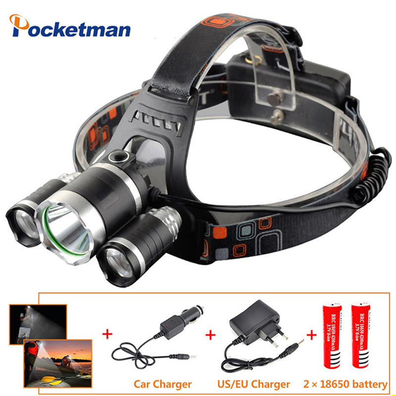 20000LM Led Cycling Headlamp T6+2R5 Headlight Head Torch Rechargeable flashlight with 18650 battery+Charger for Fishing Hunting