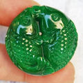 Real Natural Myanmar Jade Carved Double Fish Lucky Pendant Fine Jade Jewelry Free Rope Necklace Dropshipping