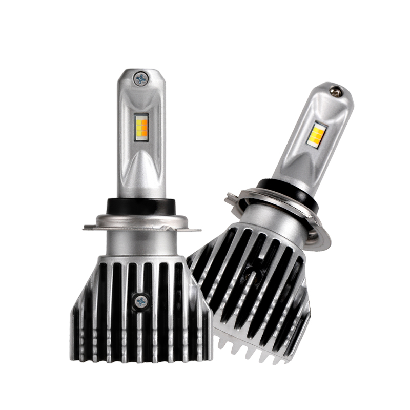 H7 Dual Color White Yellow No Fan LED bulb Automotive Headlight Fog Lamp LED 3000K 6000K