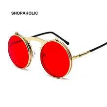 27e96aeefeb88 Vermelho Retro Rodada Steampunk óculos de Sol Das Mulheres Dos Homens de  Metal Moda Óculos De Marca Designer de óculos de Sol Do.