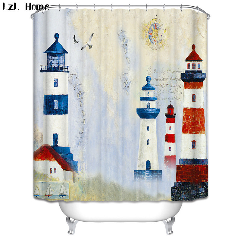 Scenery 3d Waterproof Shower Curtain London Big Ben Fabric Bathroom Lighthouse Bath Hooks Christmas Decorations In Curtains From Home