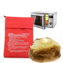 Red Microwave Potato Bag Baking Potato Cooking Bag Washable Cooker Bag Baked Potatoes Rice Pocket Oven Quick Fast Kitchen Tools(China)