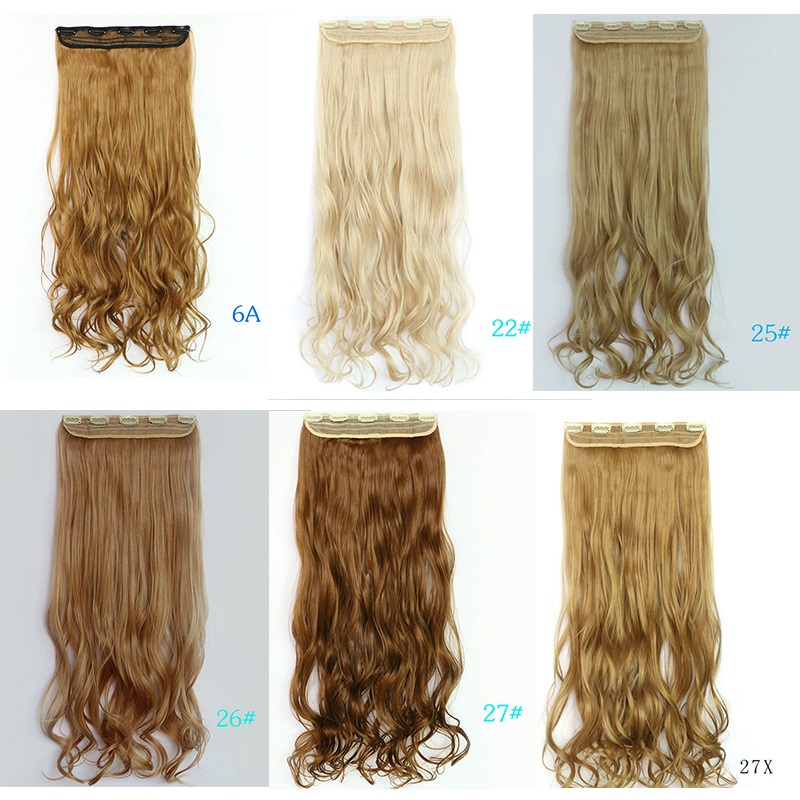 New Fashion 70cm Long 5 Clips On Hair Extensions Bulk Wavy Curly Natural False Hair Styling