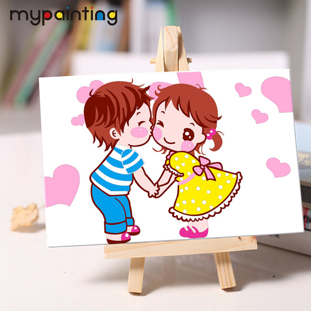 Rainbow DIY small oil Painting with easel acrylic painting Hand ...