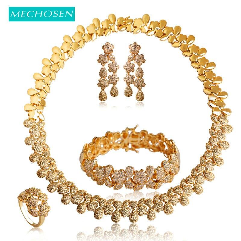 MECHOSEN Luxury Gold Color Flower Necklace Earrings Ring Bracelet Wedding Sets For Women Bridals Choker Brincos
