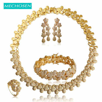 MECHOSEN Luxury Gold Color Flower Necklace Earrings Ring Bracelet Wedding Sets For Women Bridals Choker Brincos Pulseira Schmuck - DISCOUNT ITEM  36% OFF Jewelry & Accessories