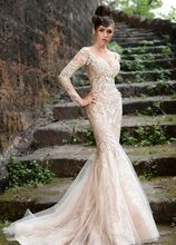 2016 New Deep V Neckline Long Sleeve Lace Formal Evening Gowns Embroidery Tulle Champagne Mermaid Prom Dress F11124 недорого