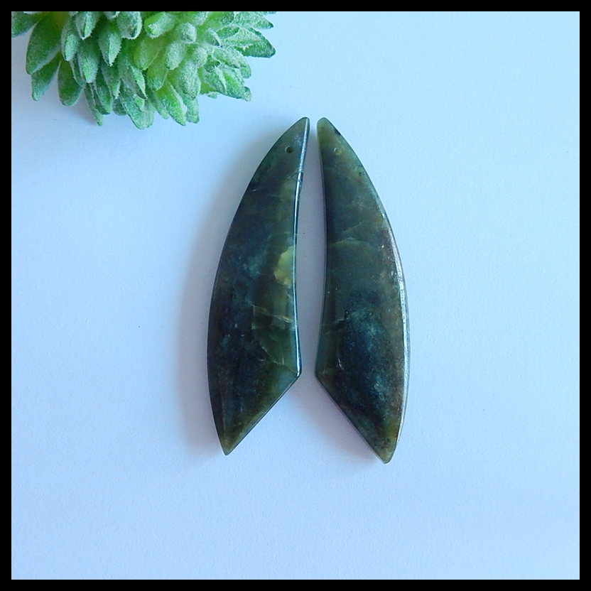 Natural Semi-precious stones, Jewelry accessories Canada Jade Earring,50x14x4mm,10g(China)