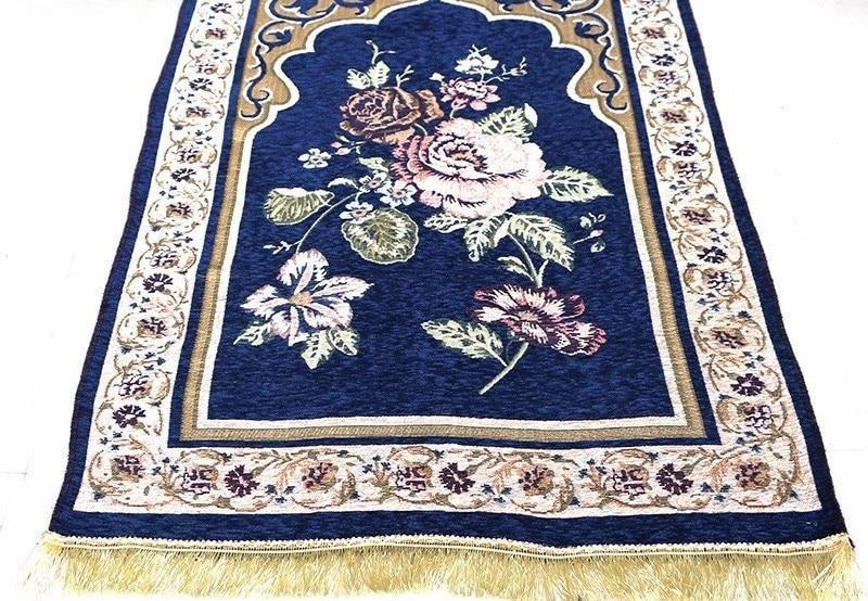 Floral Chenille Islamic Muslim Prayer Mat Salat Musallah