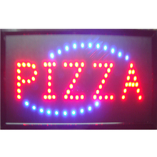 2016 direct selling 10x19 inch semi-outdoor Pizzas  store Ultra Bright running led illuminated sign