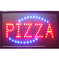 direct selling 10x19 inch semi outdoor Pizzas store Ultra Bright running led illuminated sign