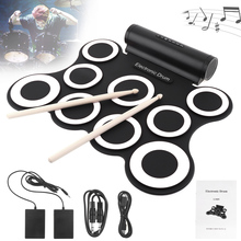 9 Pads Electronic Roll up Silicone MIDI Drum Double Speakers Stereo Electric Drum Kit with Drumsticks and Sustain Pedals цены онлайн