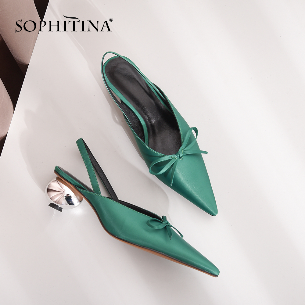 SOPHITINA Silk Sheepskin Women s Slippers Fashion Med Strange Style Butterfly not Shoes Sexy Pointed Toe