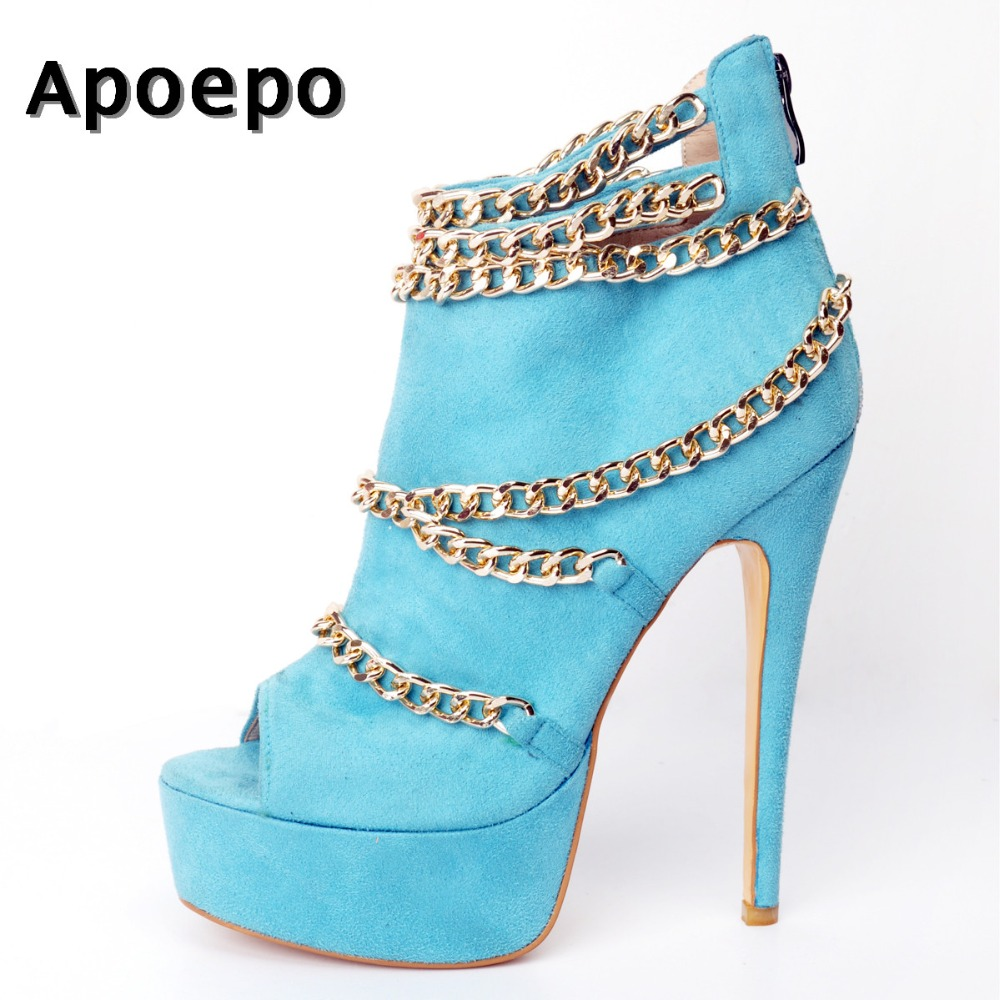 Apoepo Sky blue Suede High Heel Boots 2018 Newest Peep Toe Gold Chains Decorations Platform Boots Woman Super High Ankle Boots blue sky чаша северный олень