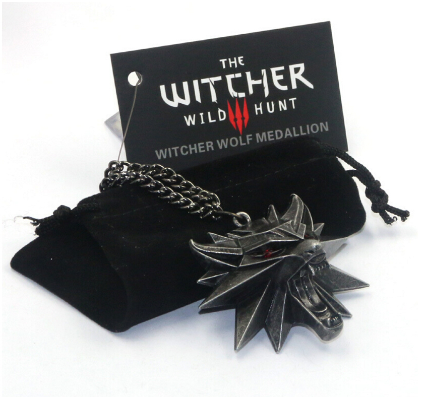 High Quality Game Witcher 3 Wild Hunt Wolf head necklace pendant badge