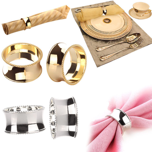 2pcs Stainless Steel Napkin Rings For Dinners Parties Weddings Hotel Supplies Diameter 4 5cm Ls