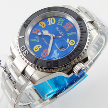 Bliger 40mm blue dial date Ceramics Bezel colorful marks saphire glass Automatic movement Men's watch